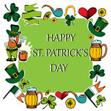 Hand drawn  St. Patrick`s Day greeting card. Stock Photo