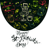 Hand drawn  St. Patrick`s Day greeting card. Royalty Free Stock Photography