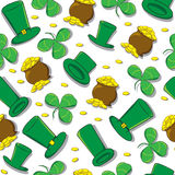 Hand Drawn St Patrick`s Day seamless pattern. Royalty Free Stock Photos