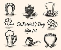 Hand drawn St Patricks Day signs Royalty Free Stock Photo