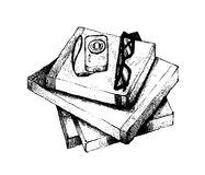 Hand Drawn Stack of Books with Camera and Glasses Stock Photo