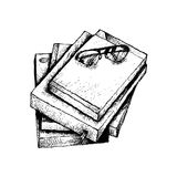 Hand Drawn Stack of Books with Glasses Stock Photography