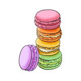 Hand drawn stack of colorful macaron, macaroon almond cakes Stock Photography