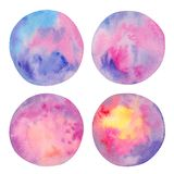 Abstract watercolor set of colorful circles isolated on white background. Hand-drawn stains for your design. Design elements stock illustration