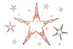 Hand drawn star formed by lying peoples hands. Vector hand drawn teamwork concept sketch and pencil over it. People lying on floor and forming stars with their stock illustration