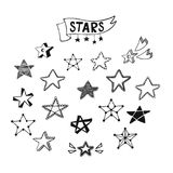 Hand drawn star icons Royalty Free Stock Photo