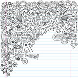 Star Student Great Grades A Plus Inky Notebook Doo. Hand-Drawn Star Student A+ Grades Scribble Inky Doodles- Back to School Notebook Doodle Design Elements on vector illustration