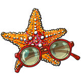 Hand drawn starfish and round sunglasses in red plastic frame. Sketch style vector illustration isolated on white background. Hand drawn tropical starfish and Royalty Free Stock Image