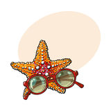 Hand drawn starfish and round sunglasses in red plastic frame. Sketch style vector illustration with place for text. Hand drawn tropical starfish and Royalty Free Stock Images