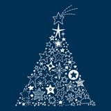 Hand drawn Stars Christmas tree. Vector Illustration of a Christmas tree created by all kinds of hand drawn Stars stock illustration
