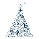 Hand drawn Stars Christmas tree. Vector Illustration of a Christmas tree created by all kinds of hand drawn Stars vector illustration