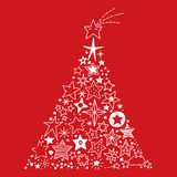 Hand drawn Stars Christmas tree. Vector Illustration of a Christmas tree created by all kinds of hand drawn Stars on a red Background royalty free illustration