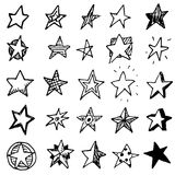 Hand Drawn stars doodles set. Sketch style icons. Decoration ele. Ment. Isolated on white background. Flat design. Vector illustration vector illustration