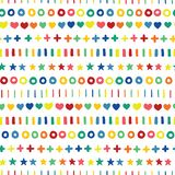 Hand drawn stars hearts circles crosses and stripes in rainbow colors in a row. Lined up hand drawn geometric shapes on white stock illustration