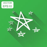 Hand drawn stars icon. Business concept stars pictogram. Vector. Illustration on green background with long shadow Stock Images