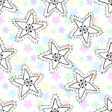 Hand drawn stars seamless pattern. Kids background for textile or wrapping.  stock illustration