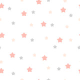 Hand drawn stars seamless pattern. Pink and gray color. Different size Royalty Free Stock Photos
