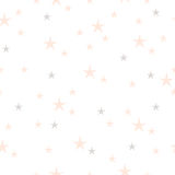 Hand drawn stars seamless pattern. Pink and gray color on a white background. Different size. Irregular Royalty Free Stock Images