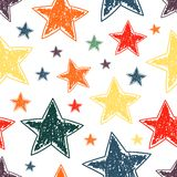 Hand drawn stars seamless pattern vector illustration