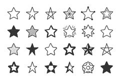 Hand Drawn Stars. Set of 24 hand drawn stars on white background Royalty Free Stock Photography