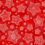 Hand-drawn stars-snowflakes seamless pattern Stock Photography