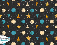Hand drawn stars, triangles and hearts doodle seamless pattern. Royalty Free Stock Images