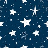 Hand drawn Stars Vector Pattern. Vector Illustration Pattern with hand drawn Stars royalty free illustration