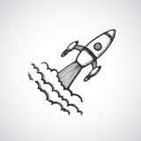 Hand drawn start up rocket illustration Royalty Free Stock Images