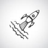 Hand drawn start up rocket illustration Royalty Free Stock Images