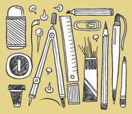 Hand drawn stationery collection. A hand drawn stationery collection Royalty Free Stock Photo