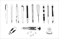 Hand drawn stationery set. Hand drawn stationery and art supplies set. Vector doodle illustration. Set of school accessories and tools. Pencils, Pens, Cutter Stock Photos