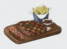Hand drawn of steak on plater Stock Image