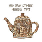 Hand drawn steampunk mechanical teapot Stock Photo