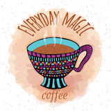 Hand drawn steamy coffee cup Royalty Free Stock Images