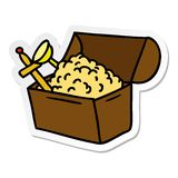 Hand drawn sticker cartoon doodle of a treasure chest. A creative sticker cartoon doodle of a treasure chest royalty free illustration