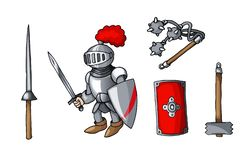 Hand drawn sticker knights colored doodle weapons set isolated on white stock photos