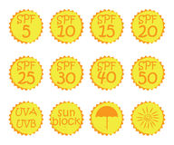 Hand drawn stickers and badges for sunscreen cosmetics Stock Images
