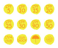 Hand drawn stickers and badges for sunscreen cosmetics Stock Photos