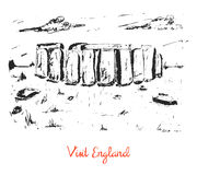 Hand drawn stonehenge sketch card Stock Photos