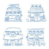 Hand drawn store, shop, restaurant, cafe, bar buildings. Vector doodle collection. Of sketch buildings. Illustration of market building Stock Photography