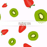 Hand drawn strawberries and kiwi. Royalty Free Stock Photography