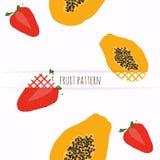 Hand drawn strawberries and papaya. Stock Photos