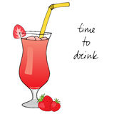 Hand drawn strawberry cocktail with ice, straw and strawberries. Hand drawn strawberry cocktail with ice, straw and strawberries on white background. Vector royalty free illustration