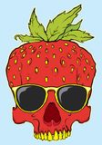 Hand drawn strawberry skull with sun glasses. Vector Stock Photography