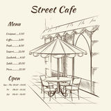 Hand drawn street cafe background Royalty Free Stock Images