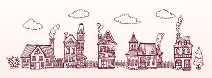 Hand drawn street with cozy european houses. Vector banner. Horizontal Illustration. Hand drawn street with cozy european houses. Vector banner. Horizontal Stock Images