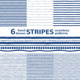 Hand drawn stripes vector seamless pattern set or collection Stock Photos