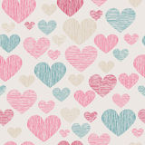 Hand drawn stripped hearts seamless pattern Stock Photography