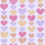 Hand drawn stripped hearts seamless pattern. Vector illustration in eps8 format Royalty Free Stock Images