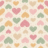 Hand drawn stripped hearts seamless pattern Royalty Free Stock Images
